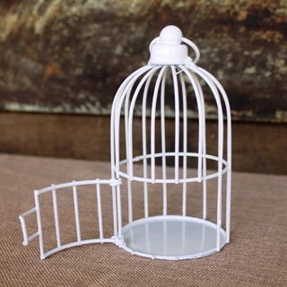 Vintage White Iron Hanging Mini Bird Cage with Opening Door