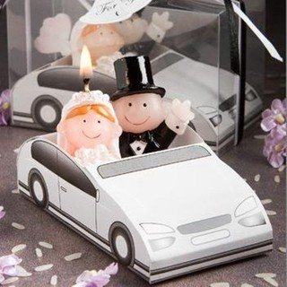 Just Married Bride & Groom in Car Candle Wedding Favour