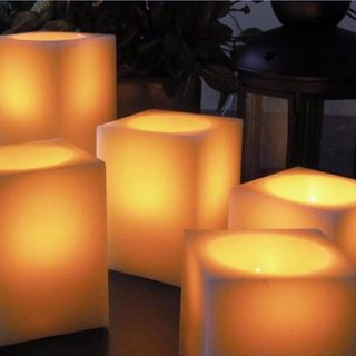 Flickering Christmas Real Wax LED Square Pillar Candle