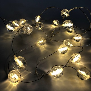 2m Warm White Crystal Ball LED Fairy Lights - Battery Operated