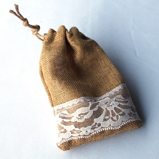 10pk Favour Bag Burlap & Lace Wedding Bomboniere